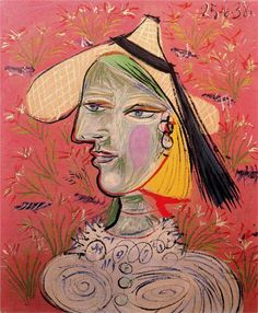 Pablo Picasso: Woman with straw hat on a flowery background, 1938.