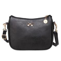 Dresslink - Dresslink Solid Metal Bow Embellished Zipper-Up Synthetic Leather Cross-body Bag - AdoreWe.com