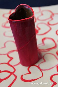 Heart Tube Stamping ~ simple recycled painting activity for toddlers. Valentine's Day crafts for kids
