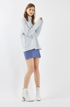 Main Image - Topshop Mixed Rib Funnel Sweater