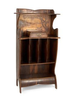 Louis Majorelle, Nancy      Note Cabinet, 1912      Slender curly body with four vertical shelves & a small thrust, Central, inlaid picture box of a river landscape with trees. Probably Courbaril, solid or veneered, oak, including veneer Woods, floral handle made of brass, cast. Picture box below on the right sign: L Majorelle (lettering in marquetry). H. 142 cm, 70 x 36,5 cm.