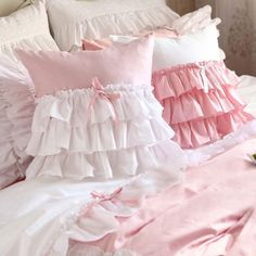 Share this page with others and get 10% off! White Pink Ruffle Cushion Cover