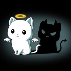 """I'm behaving...for meow…"" Get the Purr Evil (Black) t-shirt only at TeeTurtle!"