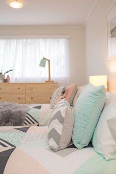 Kids bedroom, kids twin bedroom, girls bedroom, geometric bedding, faux fur throw, pine single bed, pine furniture, pink, mint, black, grey, white
