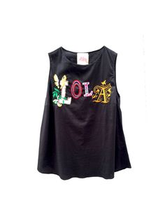 Embroidery Lola LOLA DARLING Cotton Black Blouse, Holiday Party Sleevless Top, slightly elasticized, Luxury Tailoring Handmade in Italy di loladarlingirl su Etsy