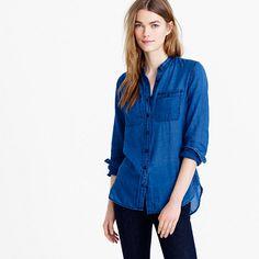 "A supersoft and super-lightweight shirt featuring a brilliant indigo blue that goes with everything (no seriously, everything) in your closet. <ul><li>Body length: 27 1/2"".</li><li>Cotton.</li><li>Long roll-up sleeves.</li><li>Machine wash.</li><li>Import.</li><li>Online only.</li></ul>"