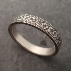 Floral Wedding Band in White Gold Narrow by DownToTheWireDesigns