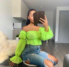 Women Top Blouse Shirt Trendy Chiffon Off Shoulder Slash Neck Loose Pleated Flare Sleeve Ruffle Blouse Sexy Casual Cop Tops Classy Outfits, Trendy Outfits, Summer Outfits, Neon Party Outfits, Mode Outfits, Girl Outfits, Fashion Outfits, Black Girl Fashion, Look Fashion