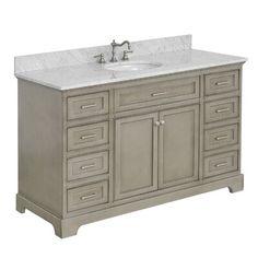 "Kitchen Bath Collection Aria 60"" Single Bathroom Vanity Set 60 Vanity, Gray Vanity, Vanity Set With Mirror, Single Sink Bathroom Vanity, Vanity Cabinet, Master Bathroom, Bathroom Storage, Bathroom Ideas, Budget Bathroom"