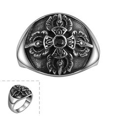 Promotions!Women's Vintage Style Jewelry Stainless Steel Silvery Black Delicate Knight Flower Cross Pattern Decorated Cool Ring