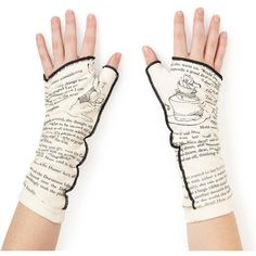 Storiarts Literary Writing Gloves ($26) ❤ liked on Polyvore featuring accessories, gloves, fingerless gloves, cotton gloves and cotton fingerless gloves