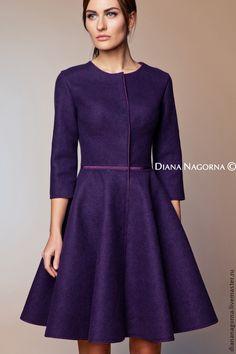 """Купить Авторское пальто из мериносовой шерсти """" Одри"""" - тёмно-фиолетовый, однотонный, валяное пальто"""