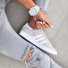 ADIDAS Women's Shoes - Adidas Women Shoes - gray adidas shoes- How to style your Adidas shoes www. - We reveal the news in sneakers for spring summer 2017 - Find deals and best selling products for adidas Shoes for Women Women's Shoes, Cute Shoes, Me Too Shoes, Shoe Boots, Shoes Sneakers, Grey Sneakers, Sneakers Style, Roshe Shoes, Converse Shoes