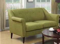 Bryant Modern Green Fabric Dark Espresso KD Legs Loveseat