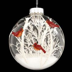 Cardinals Scene With White Tree Glass Ornament 1189572 – Baubles-N-Bling