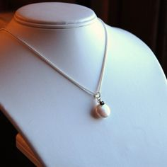 Coin Pearl necklace sterling silver chain with by southpawstudios, $42.95