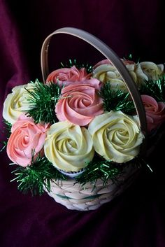 Yellow & Pink Roses Cupcake Bouquet - Cupcake Novelties - Gourmet Cupcakes, Cake Pops, Cookies & Cakes, Edible Cupcake Arrangements, Cupcake Bouquets, Cupcake Gifts & Edible Image Cupcakes for all occasions!