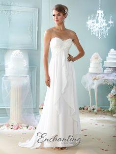 Enchanting By Mon Cheri 215108 - Strapless lace and chiffon A-line gown, sweetheart neckline, empire lace bodice, top skirt layer flows from center front bodice and ruffles down to open bottom, sweep train. Matching shawl and removable straps included.