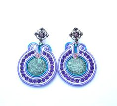 Lavender Soutache Earrings Mint Violet with Howlite Beads Soutache Braid Zircons Glamour and Shiny Style Gift Colorful