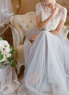 Dreamy lace & gray chiffon bridal look: http://www.stylemepretty.com/2015/10/01/romantic-bridal-inspiration-with-trousseau-co/ | Photography: Jose Villa - http://josevilla.com/