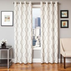 Immediately put a positive spin on your home decor with new window panels. This panel offers a contemporary and traditional look. This casual curtain panel is finished with grommets for easy hanging.