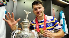 Tom Briscoe celebrates with the Challenge Cup last August after scoring five tries against Hull KR Leeds Rhinos, Challenge Cup, Rugby League, Toms, Fall, Board, Autumn, Fall Season, Planks