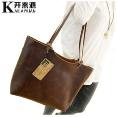 fe049eb3e6 HNSF Genuine leather Women handbags 2017 New design women handbags vintage  women shoulder bags large tote brown women bags