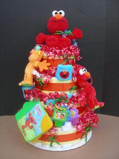 Sesame street diaper cake, custom order.  Made by GK Babies on etsy.com