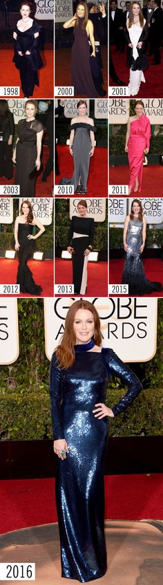 JULIANNE MOORE STYLE EVOLUTION: Here you'll find *the best* red carpet looks from the Golden Globes. The gowns, the accessories, the hair, and makeup just keep getting better and better! Find the best ~red carpet~ style inspiration here.