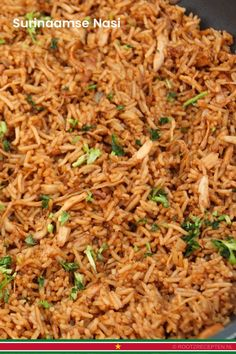 Surinamese Nasi is a fried rice dish from Suriname which was brought over by Indonesians. The fragrant rice dish is a popular dish in Suriname. Dutch Recipes, Asian Recipes, Rice Dishes, Food Dishes, Dishes Recipes, Hershey Recipes, Suriname Food, E Recipe, Basic Recipe