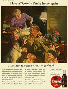 Coca-Cola Sons on Furlough Coke Ad, Coca Cola Ad, Coca Cola Bottles, Pepsi, Vintage Advertisements, Vintage Ads, Vintage Prints, Retro Ads, Vintage Stuff