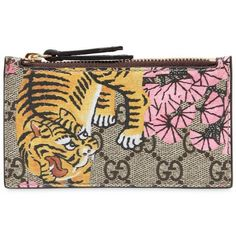 e98ae3d0aaf Gucci Women Tiger Cub Print Gg Supreme Card Case (2 075 SEK) ❤ liked on  Polyvore featuring bags