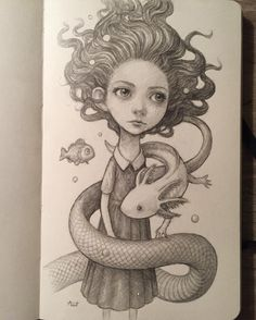 Here is the finished sketch. Now I just need to paint it. #axolotl #graphite #sketch #moleskine #underwater