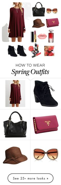 """The RED outfit"" by m-cox12 on Polyvore featuring Clarks, Prada, Chanel, Lancôme and Lime Crime"
