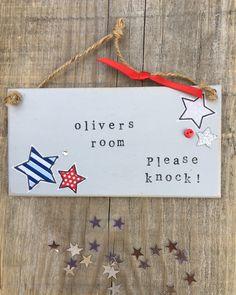 £6.00 ~ bedroom sign ~ boys room ~ bedroom plaque ~ hanging door sign ~ wooden ~ handmade. visit us on facebook and etsy