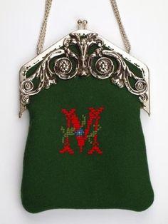 SECESJA zielona TOREBKA z monogramem M plater