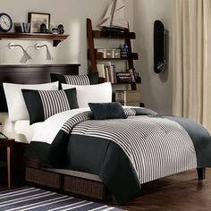 Stripey rug for beside bed. Masculine Bed Linen Color Scheme for Simple Teen Boy Bedroom
