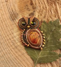 Брошь Сова (яшма, кристаллы Сваровски) - сова,сова кулон,совенок,совушка