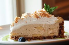 Vegan Banana coconut cream pie . Rachel Carr, Chef. The Raw and the Cooked website.
