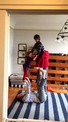 """Misha on twitter : My brother is into """"acro yoga"""" here's him practicing on my children.  See video : https://twitter.com/mishacollins/status/685558727315861505"""