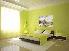 homeozoic.com wp-content uploads 2016 01 magnificent-bedroom-ideas-presenting-lime-green-paint-colors-theme-with-cool-art-wall-painting-and-low-profiles-hardwood-bed-frames-covered-in-black-leather-be-equipped-queen-size-foam-mattress-includ.jpg