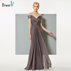 >> Click to Buy << Dressv dark grey chiffon long evening dress elegant v neck backless a line ruched wedding formal party dress lace evening dress #Affiliate