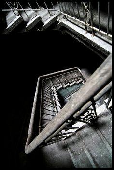 Stair case in the abandoned Beelitz Heilstätten, Germany
