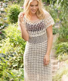 Natural Beauty Crochet Dress free pattern. Lacy pattern stitches are deliciously combined for a fabulous dress that is versatile enough to wear for a wedding and free-spirited enough to wear to the beach. We've included a range of sizes for this flattering beauty. Directions are for size Small/Medium. Changes for sizes Large, X-Large, 2X-Large/3X-Large are in parentheses. Materials: AUNT LYDIA'S® Fashion Crochet size 3: 10 (11, 13, 14) balls 226 Natural Susan Bates® Crochet Hook: 3....