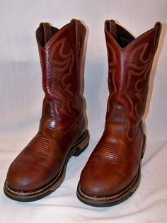 Rocky Brown Western Leather Work Boots Size 9.5 W Reconditioned #RockyBoots #westernwork