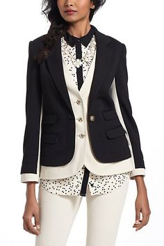 """Great way to remake a jacket that's too small--add the """"under vest"""" sections, accent bands on sleeves    Achroma Layered Blazer - Anthropologie.com"""