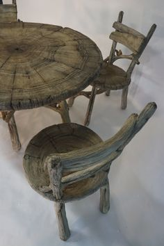 Tree Branch Art, Tree Branches, Concrete Yard, Cement, Table And Chairs, Furniture Ideas, Whimsical, Table Settings, Organic