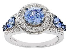 Meet your new favorite Swarovski ® Blue Zirconia & White Cubic Zirconia Rhodium Over Silver Ring 4.69ctw! JTV offers exceptional quality and value with this piece.
