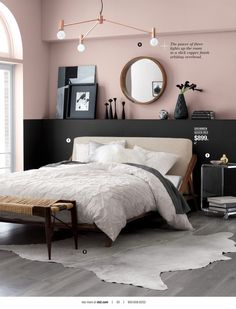 possible pale pink wall with grey carpet and a rug