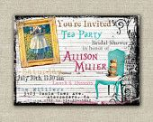 25 Alice in Wonderland invitations, tea party, bridal, baby, shower, birthday. Next year for the girls
